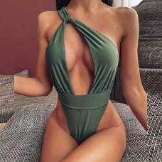 Купальник женский цельный зеленый 7551