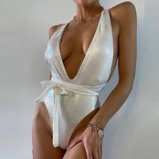 Купальник женский слитный белый 7799