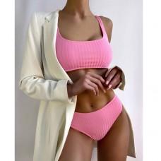 Купальник женский с топом розовый 7804