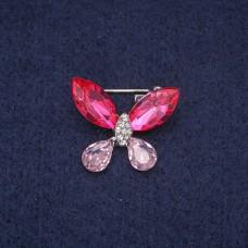 Брошь Бабочка с розовыми стразами 7281