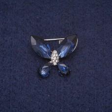 Брошь Бабочка с синими стразами 7283