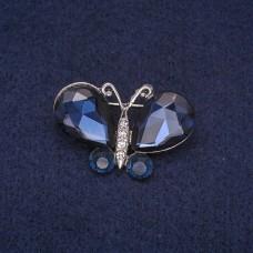 Брошь Бабочка с синими камушками 7286