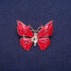 Брошь Бабочка с красной эмалью 7292