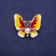 Брошь Бабочка с жемчугом 7294