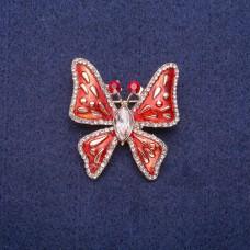 Брошь Бабочка с красной эмалью 7295