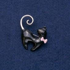 Брошь Кошка черная 9027