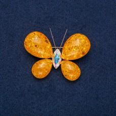 Брошь Бабочка с оранжевым камнем 9122