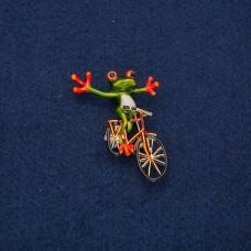 Брошь Лягушка с велосипедом 9127