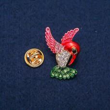 Брошка Колибри красная 7453
