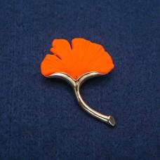 Брошь Лист оранжевый 8524