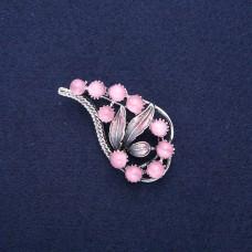 Брошь Листик розовый 8647