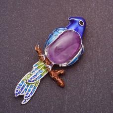 Брошь Попугай с фиолетовым камнем 7473