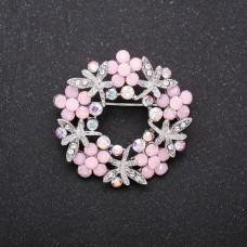 Брошь Венок с розовыми цветами 8431