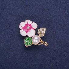 Брошь Цветок розовый 8328