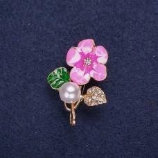Брошь Цветок розовый 8329