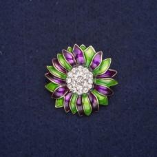 Брошь Цветок зелено-фиолетовый 8330
