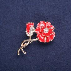 Брошь Цветок красные маки 8334