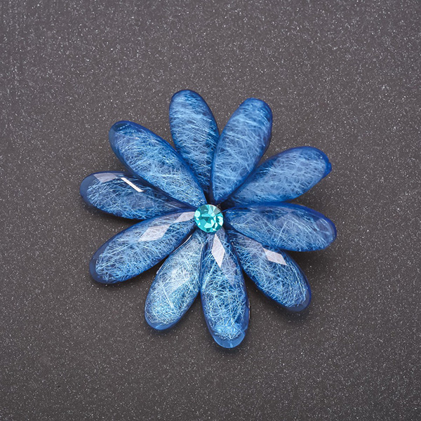 Брошь синий Цветок 8349