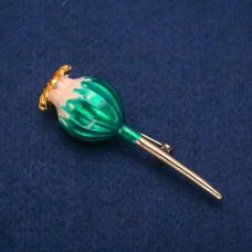 Брошь Маковей зеленый 8365