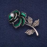 Брошь Роза зеленая 8368
