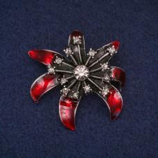 Брошь Цветок красный 8378