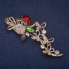 Брошь Роза с бабочками 8383