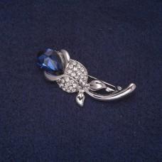 Брошь Роза с синим камнем 8385