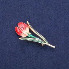 Брошь Цветок красный 8390