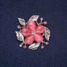 Брошь Цветок розовый 8392