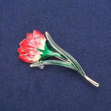 Брошь Цветок красный 8393