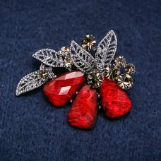 Брошь Цветок красный 8397