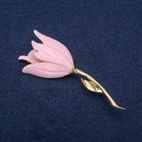 Брошь Цветок розовый 8540