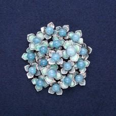Брошь Цветок голубой 8822