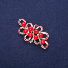 Брошь красный цветок 8826