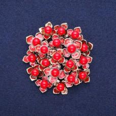 Брошь красный цветок 8827