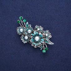 Брошь синий цветок с жемчугом 8828