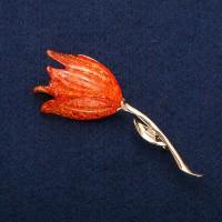 Брошь Тюльпан Оранжевый 8709