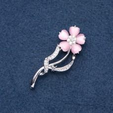 Брошь розовый цветок 8955
