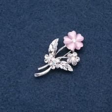 Брошь розовый цветок 8956