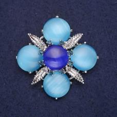 Брошь цветок голубой 8958