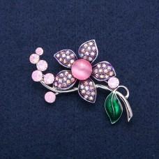 Брошь цветок розовый 8959