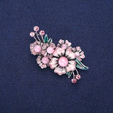 Брошь цветы розовые 8965
