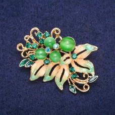 Брошь цветок зеленый 8970