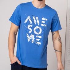 Мужская футболка голубая 4756