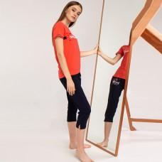 Пижама женская коралловая с капри 5253