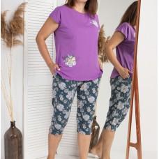 Пижама женская сиреневая с капри 5283