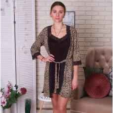 Сорочка женская c халатом леопардовая 6273
