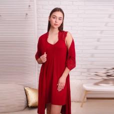 Сорочка женская c халатом красная 6274