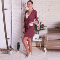 Сорочка женская c халатом бордовая 6276