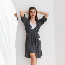 Сорочка женская c халатом серая 6277